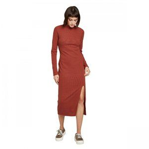 Wild Fable LS Mock Turtleneck Rib Knit Midi Dress